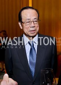 Former Prime Minister of Japan Yasuo Fukuda. Photo by Tony Powell. Opera Camerata of Washington Gala. Japan Amb's Residence. December 5, 2014