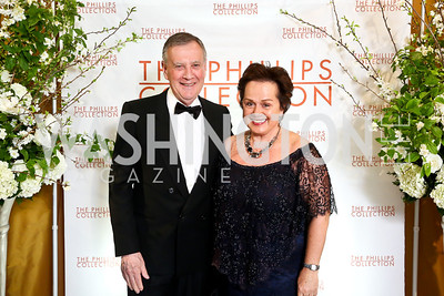 Dennis Wholey, Liechtenstein Amb. Claudia Fritsche. Photo © Tony Powell. 2014 Phillips Collection Gala. May 16, 2014