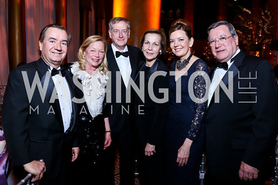 Rep. Ed Royce, Ellen Noghes, Hidde Ronde, Finland Amb. Ritva Koukku-Ronde, Marie Royce, Former Monaco Amb. Gilles Noghes. Photo by Tony Powell. 2014 Prevent Cancer Gala. Building Museum. March 7, 2014