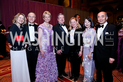 Laura Denise Bisogniero and Italy Amb. Claudio Bisogniero, Bo Aldige, Former Monaco Amb. Gille and Ellen Noghes, Nobuko Sasae and Japan Amb. Kenichiro Sasae. Photo by Tony Powell. 2014 Prevent Cancer Gala. Building Museum. March 7, 2014