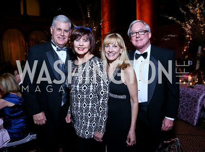 Gen. Dave and Kate Papak, Mary Vander Linden, Stacey Black. Photo by Tony Powell. 2014 Prevent Cancer Gala. Building Museum. March 7, 2014