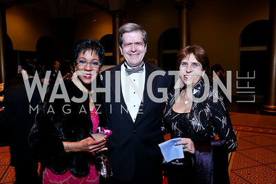 Board Member and Mistress of Ceremonies Andrea Roane, James and Pamela Mulshine. Photo by Tony Powell. 2014 Prevent Cancer Gala. Building Museum. March 7, 2014