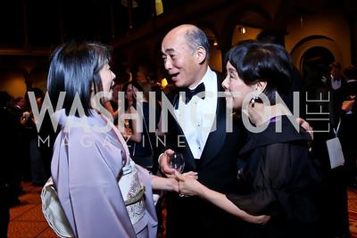 Nobuko Sasae and Japanese Amb. Kenichiro Sasae, Rep. Doris Matsui. Photo by Tony Powell. 2014 Prevent Cancer Gala. Building Museum. March 7, 2014