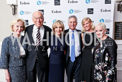 Designer Nancy Corzine, Leonard Lauder, Andrea Mitchell, ADDF Exec. Dir. and Chief Science Officer Dr. Howard Fillit and VP Nancy Sanford, Elise Lefkowitz. Photo by Tony Powell. 2014 Great Ladies Luncheon and Fashion Show. Ritz Carlton. April 1, 2014