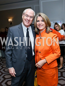 George Vradenburg, Kathleen Matthews. Photo by Tony Powell. 2014 Great Ladies Luncheon and Fashion Show. Ritz Carlton. April 1, 2014