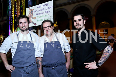 Jeremiah Langhorn, RJ Cooper, Bryan Tetorakis. Photo by Tony Powell. 2014 St. Jude's Gourmet Gala. Building Museum. February 25, 2014
