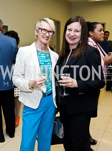 Dance Place Exec. Dir. Deborah Riley, WPA President and CEO Jenny Bilfield. Photo by Tony Powell. 2014 Step Afrika Gala. Catholic University. May 29, 2014