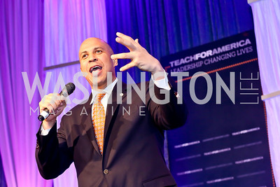 Keynote Speaker Sen. Corey Booker. Photo by Tony Powell. 2014 Teach for America Gala. Omni Shoreham. March 13, 2014