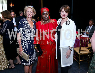 Maggie Shannon, Victoria Kisyombe, Marlene Malek. Photo by Tony Powell. 2014 Vital Voices Global Leadership Awards. Kennedy Center. June 17, 2014