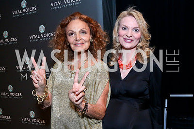 Diane von Furstenberg, Alyce Nelson. Photo by Tony Powell. 2014 Vital Voices Global Leadership Awards. Kennedy Center. June 17, 2014