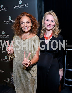 Diane von Furstenberg, Alyse Nelson. Photo by Tony Powell. 2014 Vital Voices Global Leadership Awards. Kennedy Center. June 17, 2014