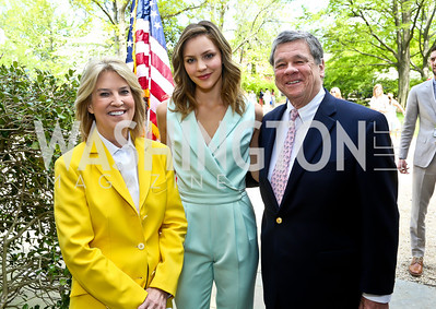 Greta Van Susteren, Katharine McPhee, John Coale. Photo by Tony Powell. WHCD Garden Brunch. Ein Residence. May 3, 2014