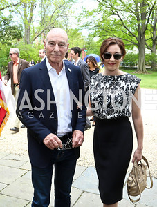Sir Patrick Stewart and Sunny Ozell. Photo by Tony Powell. WHCD Garden Brunch. Ein Residence. May 3, 2014