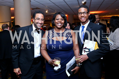 Brian Williams, DC Schools Chancellor Kaya Henderson, Robert Shedrick. Photo by Tony Powell. 2014 WPA Gala. Wardman Park. May 10, 2014