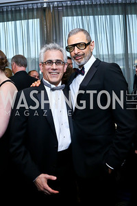 David Corn, Jeff Goldblum. Photo by Tony Powell. WHCD Pre-parties. Hilton Hotel. May 3, 2014