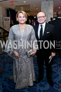 Princess Aisha bint Al Hussein, Franco Nuschese. Photo by Tony Powell. WHCD Pre-parties. Hilton Hotel. May 3, 2014
