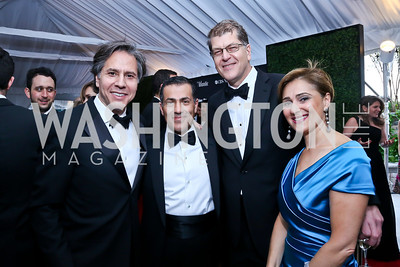 Deputy National Security Advisor Tony Blinken, Vali Nasr, Steve Clemons, Darya Nasr. Photo by Tony Powell. WHCD Pre-parties. Hilton Hotel. May 3, 2014