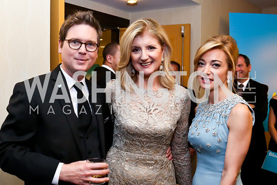 Twitter co-founder Biz Stone, Arianna Huffington, Dolce and Gabbana USA President Federica Marchionni. Photo by Tony Powell. WHCD Pre-parties. Hilton Hotel. May 3, 2014