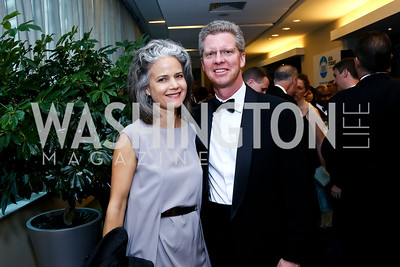 Liza Gilbert and HUD Secretary Shaun Donovan. Photo by Tony Powell. WHCD Pre-parties. Hilton Hotel. May 3, 2014