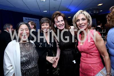 Tina Tchen, Valerie Jarrett, Lally Weymouth, Andrea Mitchell. Photo by Tony Powell. WHCD Pre-parties. Hilton Hotel. May 3, 2014