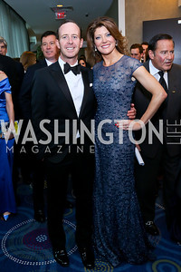 Geoff Tracy and Norah O'Donnell. Photo by Tony Powell. WHCD Pre-parties. Hilton Hotel. May 3, 2014