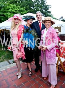 Ioana Lee, Rhoda Septilici, Portugal Amb. Nuno and Rosa Brito. Photo by Tony Powell. Woodrow Wilson Garden Party. May 14, 2014