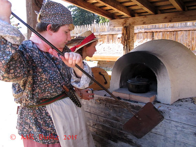baking cobbler in the Fort's brick oven