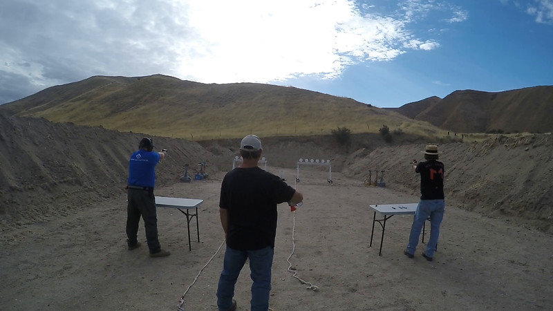 Jeb Hardy (left) and Alton Stafford (right) face off in the pistol match.