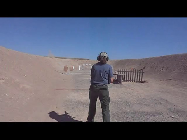Karen Tamminga shooting a Mac 11/9 on Stage 2