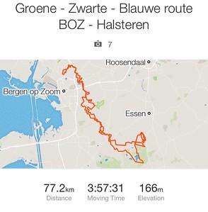 MTB ritje Groene - Zwarte - Blauwe route BoZ - Halsteren 24-03-2017