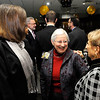 Don Knight | The Herald Bulletin<br /> From left, 2015 Athena Lynn Staley, Darlene Miller and Marilyn Ault visit during the social hour at the Athena awards dinner at the Anderson Country Club on Thursday.