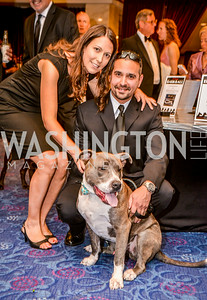 Robert Manzo, Laura Manzo, Dog Tony, 27th Annual Bark Ball, hosted by the Washington Humane Society, Washington Hilton, Saturday, June 14, 2014.  Photo by Ben Droz.