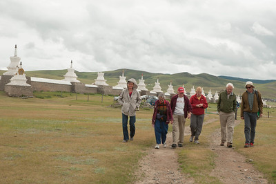 Outside Erdene Zuu monastery walls, walking towards Stone Turtle marker on perimeter of ancient Karakorum.