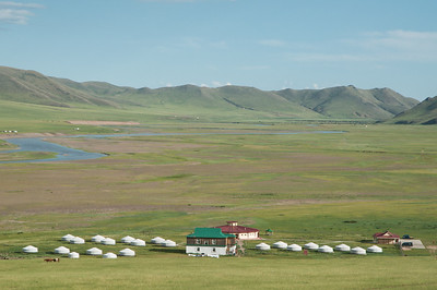 Steppe Nomads camp with Kherlen River beyond.