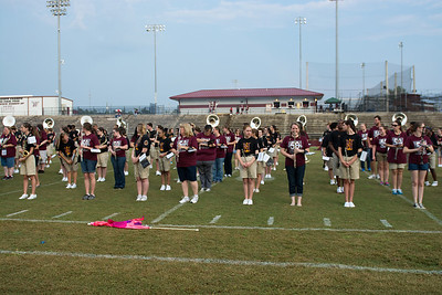 Band alumni from many past classes join the 2013-2014 Eagle Pride  on the field to celebrate the 50th anniversary of Niceville High School at the current location.