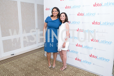 Karn Finney, Maria Teresa Kumar. Photo by Alfredo Flores. 5th Annual Our Voices Celebrating Diversity in Media reception to kick off White House Correspondents Weekend festivities. Hay Adams Hotel. May 2, 2014