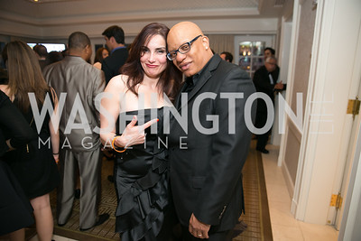 Faranak Arab, Ski Johnson. Photo by Alfredo Flores. 5th Annual Our Voices Celebrating Diversity in Media reception to kick off White House Correspondents Weekend festivities. Hay Adams Hotel. May 2, 2014