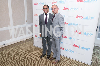 Jonathan Capehart, Jimmy Hernandez. Photo by Alfredo Flores. 5th Annual Our Voices Celebrating Diversity in Media reception to kick off White House Correspondents Weekend festivities. Hay Adams Hotel. May 2, 2014