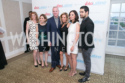 Maria Teresa Kumar, Wilmer Valderrama. Photo by Alfredo Flores. 5th Annual Our Voices Celebrating Diversity in Media reception to kick off White House Correspondents Weekend festivities. Hay Adams Hotel. May 2, 2014