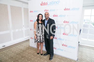 Angela Rye, Jamal Simmons. Photo by Alfredo Flores. 5th Annual Our Voices Celebrating Diversity in Media reception to kick off White House Correspondents Weekend festivities. Hay Adams Hotel. May 2, 2014