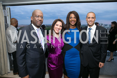 Pierre Thomas, Vivian Hurtado, Michelle Bernard, Keita Bell.  Photo by Alfredo Flores. 5th Annual Our Voices Celebrating Diversity in Media reception to kick off White House Correspondents Weekend festivities. Hay Adams Hotel. May 2, 2014