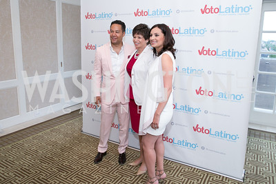 David Sutphen, Valerie Jarrett, Maria Teresa Kumar. Photo by Alfredo Flores. 5th Annual Our Voices Celebrating Diversity in Media reception to kick off White House Correspondents Weekend festivities. Hay Adams Hotel. May 2, 2014