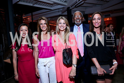 Julie Lee, Vanessa Meccarielli, Callie Nierenberg, NBC4 Anchor Jim Vance, Kristin Cecchi. Photo by Tony Powell. 2014 Newsbabes Bash for Breast Cancer. Powerhouse. June 11, 2014