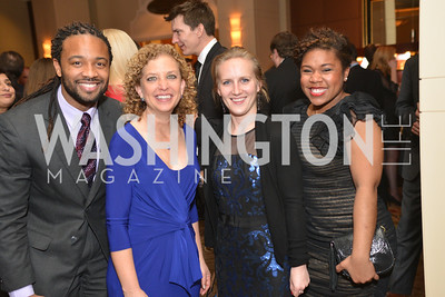 Juan McCullum, Rep. Debbie Wasserman Schultz, Elizabeth Darnall, Courtney Cochran, Washington Press Club Foundation hosts the 70th Annual Congressional Dinner.  Mandarin Oriental Hotel, February 5, 2014.  Photo by Ben Droz.