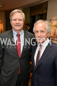 Senator John Hoeven, Senator Bob Corker, Washington Press Club Foundation hosts the 70th Annual Congressional Dinner.  Mandarin Oriental Hotel, February 5, 2014.  Photo by Ben Droz.