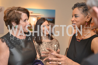 Rep. Nancy Pelosi talks with Rep. Donna Edwards, Washington Press Club Foundation hosts the 70th Annual Congressional Dinner.  Mandarin Oriental Hotel, February 5, 2014.  Photo by Ben Droz.
