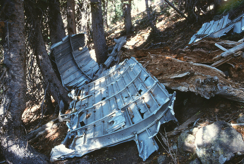 Large fragments of aircraft fuselage structure have been carried down into the treeline over time by rock slides and snow. (1991)