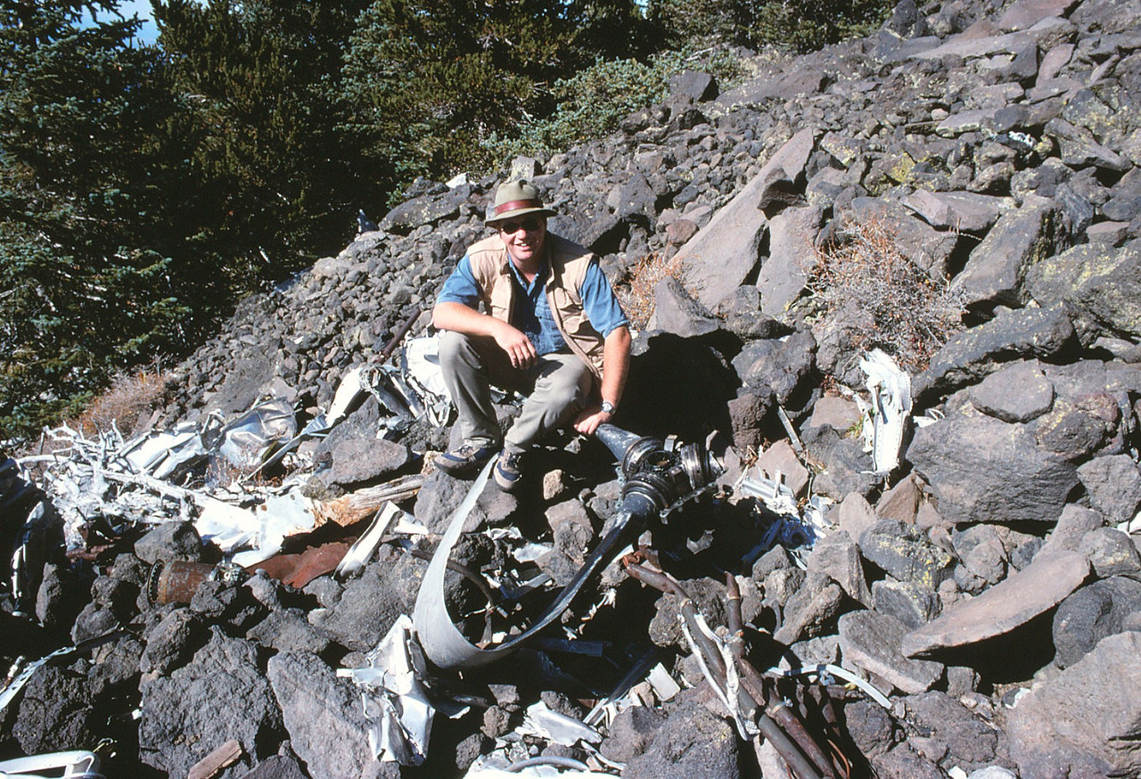 This propeller and hub was damaged by impact. Other propellers were located at the site were further destroyed by vandals who decided to hacksaw random blades off for souvenirs. (1991)