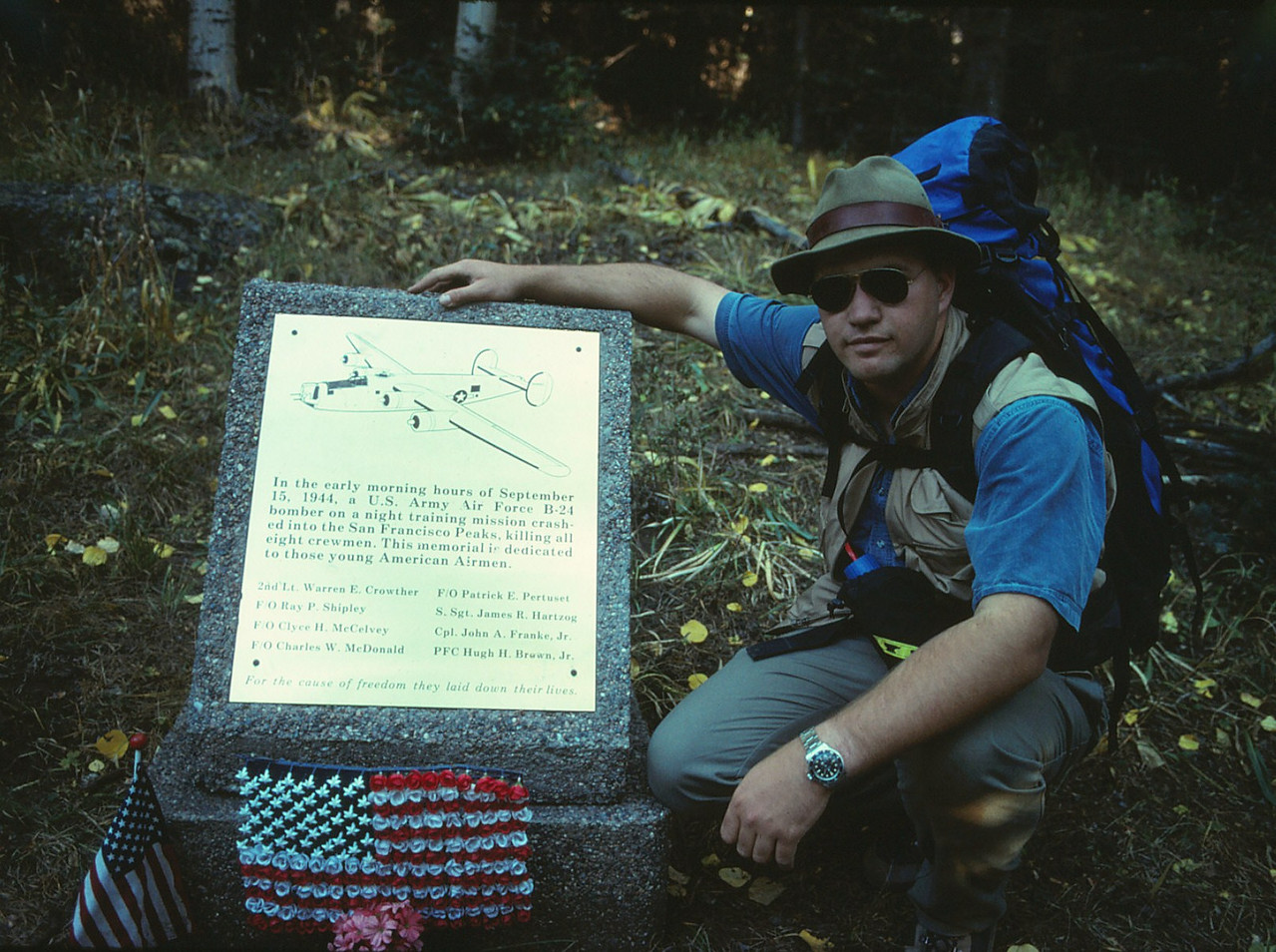 A memorial to the crew is located near the trailhead at the Snowbowl Lodge. In 1991, the memorial was recently placed.<br /> <br /> IN MEMORY OF<br /> <br /> 2nd. Lt. Warren E. Crowther (Pilot)<br /> F/O Ray P. Shipley <br /> F/O Clyce H. McCelvey<br /> F/O Charles W. McDonald<br /> F/O Patrick E. Pertuset<br /> S.Sgt. James R. Hartzog<br /> Cpl. John A. Franke Jr.<br /> Pfc. Hugh H. Brown
