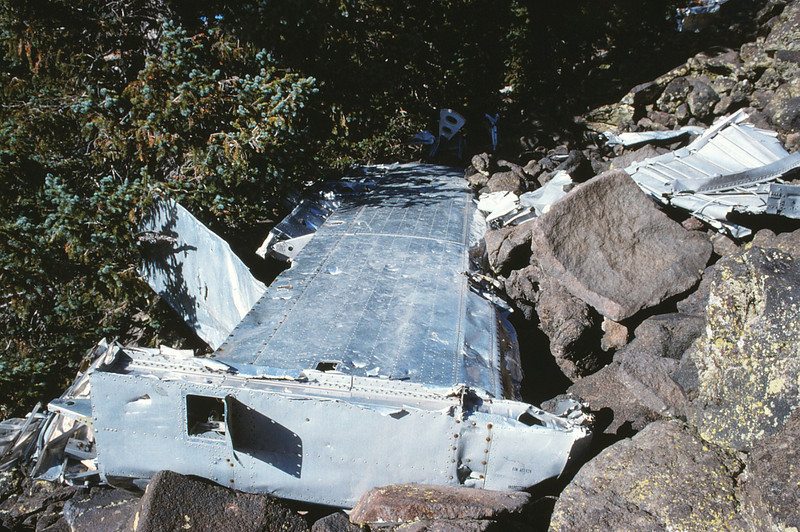 This horizontal stabilizer from the aircraft's tail section once had a stabilizer fin attached with the aircraft number. It had been cut by vandals years prior for a souvenir. History lost. (1991)